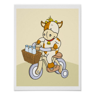 Baby Cow riding Nursery Poster