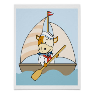 Baby Cow sailing Poster