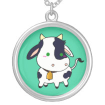 Baby cow silver plated necklace