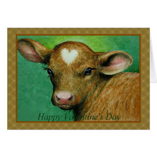 Baby Cow Valentines Card