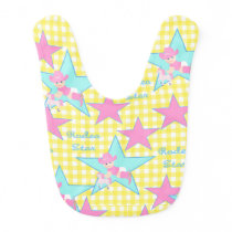 Baby Cowgirl Rodeo Star Yellow Check Bib