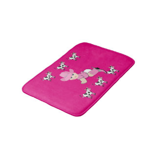 Baby Cowgirl With Black And White Cows Bath Mat