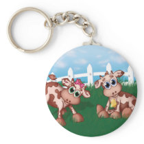 Baby Cows on a Hill Side With White Fence in Back Keychain