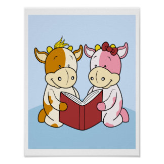 Baby Cows reading together Poster