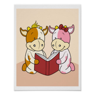 Baby Cows sharing a book to read Poster
