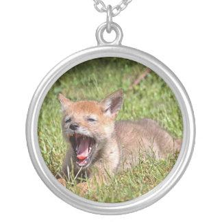 Baby Coyote Yawning Custom Necklace
