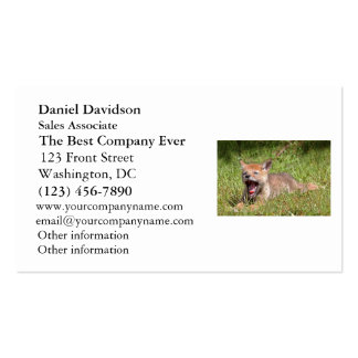 Baby Coyote Yawning Double-Sided Standard Business Cards (Pack Of 100)