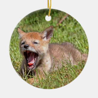 Baby Coyote Yawning Ornaments