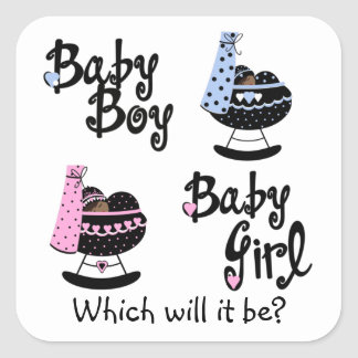 Baby Cradle African American Gender Reveal Square Sticker