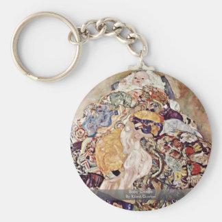 Baby Cradle By Klimt Gustav Key Chain