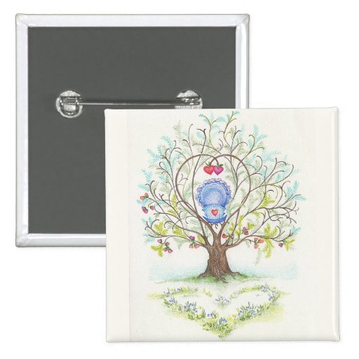 Baby Cradle in A Tree of Hearts and Love 2 Inch Square Button
