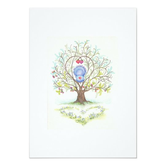 Baby Cradle in A Tree of Hearts and Love Card