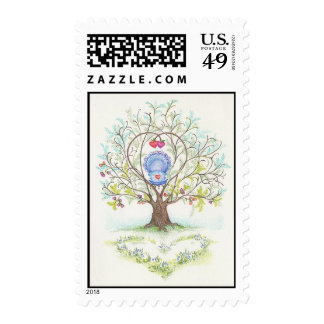 Baby Cradle in A Tree of Hearts and Love Postage Stamps
