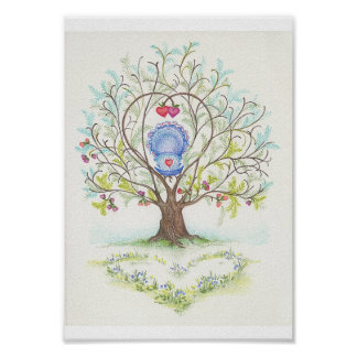 Baby Cradle in A Tree of Hearts and Love Poster