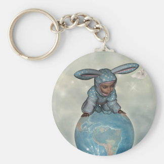 Baby crawl bunnies save the earth 1 keychain