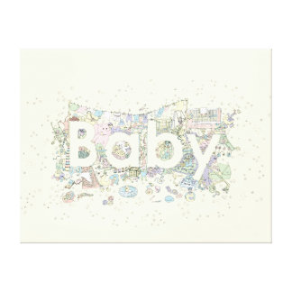 'Baby' creative text novelty art Gallery Wrapped Canvas