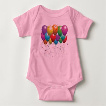 Baby Creeper  Beige   Balloons  Image by CREATIVEforKIDS at Zazzle
