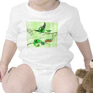 Baby creeper with colorful green birds tigudesign