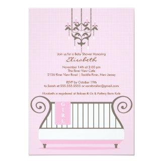 Baby Crib Baby Shower Invitation Chic Girl Pink