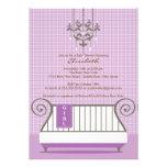 Baby Crib Baby Shower Invitation Chic Girl Purple