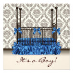 Baby Crib Blue Brown Damask Baby Boy Shower Personalized Invitations