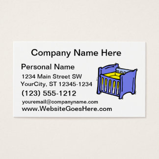 Baby crib blue graphic yellow mattress business card