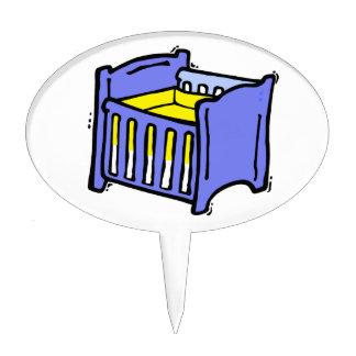 Baby crib blue graphic yellow mattress cake topper