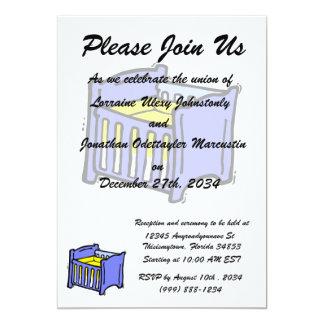 Baby crib blue graphic yellow mattress card