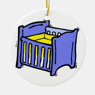 Baby crib blue graphic yellow mattress ornaments