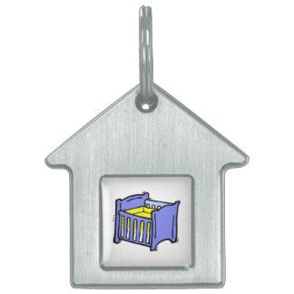 Baby crib blue graphic yellow mattress pet ID tag