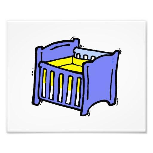 Baby crib blue graphic yellow mattress photograph