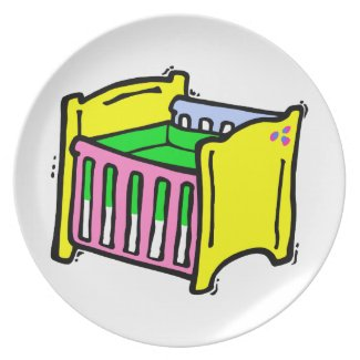 baby crib colorful graphic plate