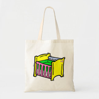 baby crib colorful graphic tote bag