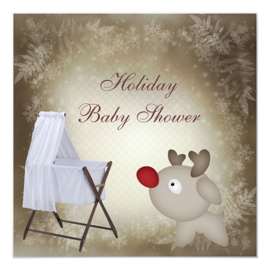 Baby Crib Neutral Holiday Baby Shower Card