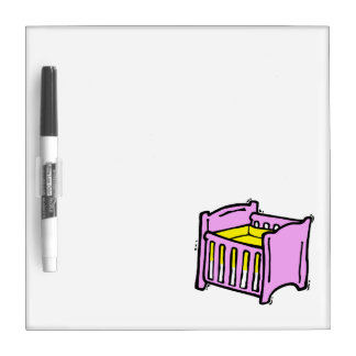baby crib pink themed graphic yellow mattress Dry-Erase board