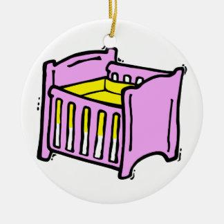 baby crib pink themed graphic yellow mattress ornaments