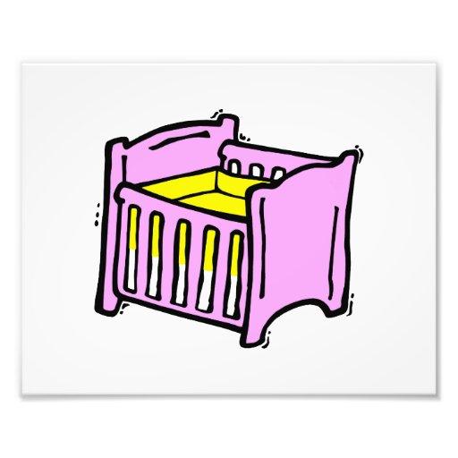 baby crib pink themed graphic yellow mattress photo