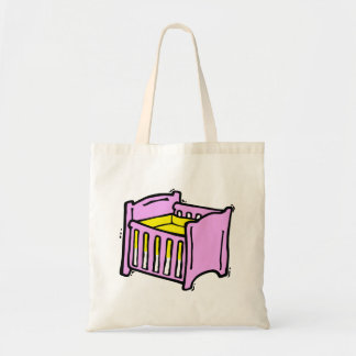 baby crib pink themed graphic yellow mattress tote bag