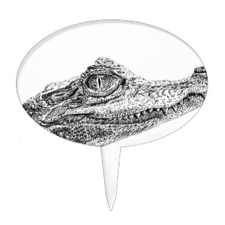 Baby Crocodile Ink Drawing Cake Topper