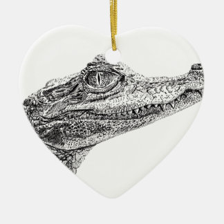 Baby Crocodile Ink Drawing Ceramic Ornament