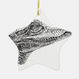 Baby Crocodile Ink Drawing Ceramic Ornament