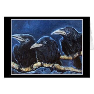 Baby Crows - Original Art Greeting Card