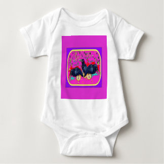 Baby Crows Whimsy purple by Sharles Baby Bodysuit