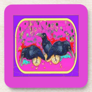 Baby Crows Whimsy purple by Sharles Beverage Coasters