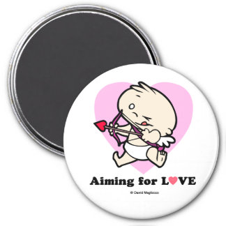 Baby Cupid Aiming For Love Round Magnets