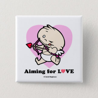Baby Cupid Aiming For Love Square Button