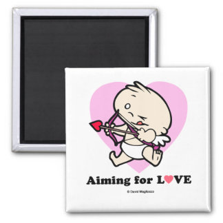 Baby Cupid Aiming For Love Square Magnets