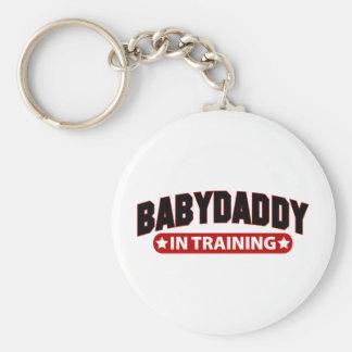 Baby Daddy In Training Basic Round Button Keychain