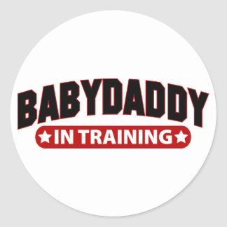 Baby Daddy In Training Classic Round Sticker