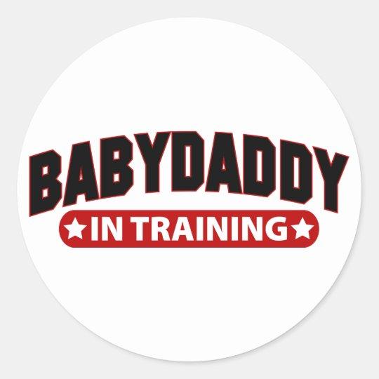 Baby Daddy In Training Classic Round Sticker
